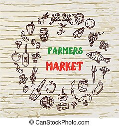 Farmers market design for the card or banner, sketchy style,...