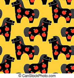 Horse toy seamless pattern. Childrens equine dapple ornament. hoss Kids background. Texture of fabric for children. vintage fun. Retro plaything