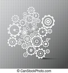 Cogs. Paper Cut Gears on Grey Background.