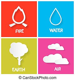 Four Elements Icons Set. Fire - Water - Earth and Air Illustration.