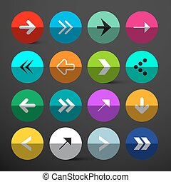 Arrow Buttons Set. Vector Colorful Circles with Arrows Signs on Dark Background.
