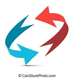 Arrows Illustration. Red and Blue Double Arrow Vector 3D...