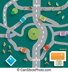 Top View City Map. Abstract Town Flat Design Vector.