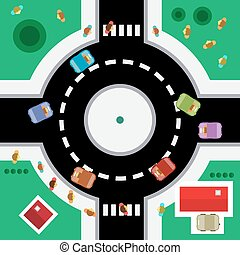 Top View Vector Roundabout.