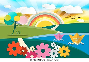 Abstract Landscape Illustration. Vector Spring - Summer - Autumn Fairy Tale Nature Scene. Cartoon with Flowers, Paper Boats, Tree and Sun with Rainbow.