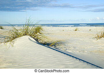 Sand Dune - Beautiful sand dune near ocean strong diagonal...