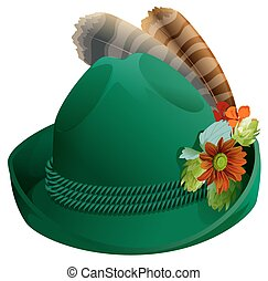 Green hat with feathers for Oktoberfest. Isolated on white...