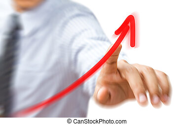 Business hand pressing a growth chart