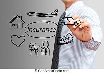 begrepp,  family), teckning,  (insurance, bil, affärsman, försäkring