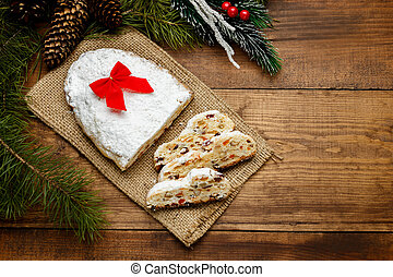 traditional German cake with raisins Dresdner stollen....