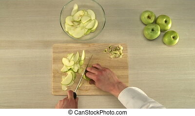 Apple cutting for baking - Cook cutting and cleaning apples...