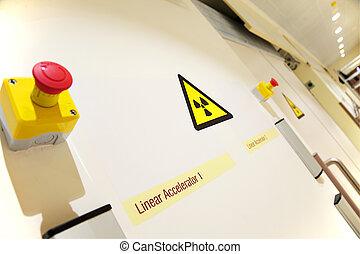 oncology laboratory entrance - Radiation sign on the door of...