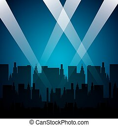 cityscape with reflector lights vector illustration design