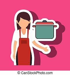 woman chef food meal