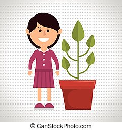 character pot plant vector illustration eps 10