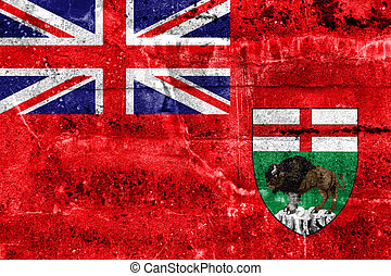 Flag of Manitoba Province, Canada, painted on dirty wall