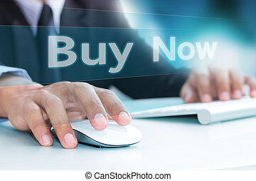 Hand typing on laptop computer keyboard buy now