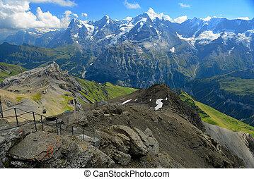 alpi, schilthorn, forma, Oberland, monch, cantone, Jungfrau,...