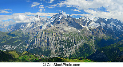 Panorama view of the famous peaks: Eiger, Monch and Jungfrau...