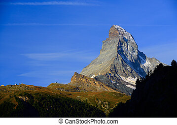 Matterhorn in early morning with blue sky in summer....