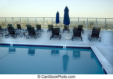 Rooftop Pool overlooking Hollywood Los Angeles Skyline