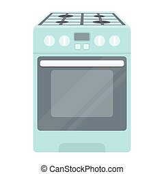 Kitchen stove icon in cartoon style isolated on white...