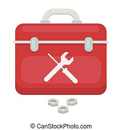 Toolbox icon in cartoon style isolated on white background...