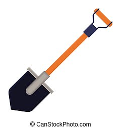 Shovel icon in cartoon style isolated on white background....