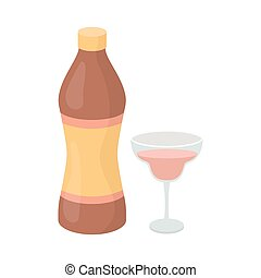 Vermouth icon in cartoon style isolated on white background....