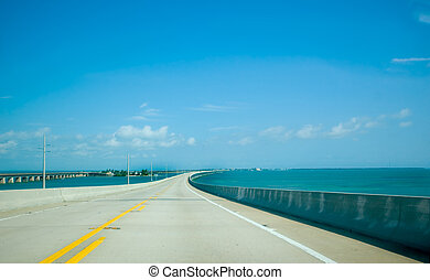 Florida Keys bridge - Road over beautiful blue water in the...