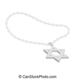 Star of David icon in cartoon style isolated on white...