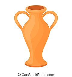 Amphora icon in cartoon style isolated on white background...