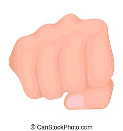 Fist bump icon in cartoon style isolated on white background. Hand gestures symbol stock vector illustration.