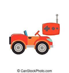 RC car icon in cartoon style isolated on white background....