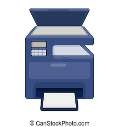 Multi-function printer in cartoon style isolated on white...