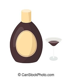 Chocolate liqueur icon in cartoon style isolated on white...
