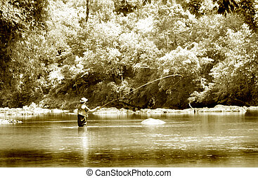 Fly Fishing infrared - Infrared and sepia toned fly fishing...