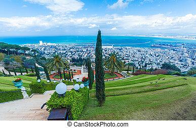 Aerial View of Haifa from Bahai Garden