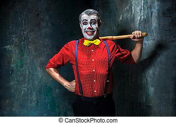 a, assustador, Palhaço, e, baseball-bastão, ligado, dack,...