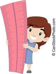 Little Girl holding a Big Ruler