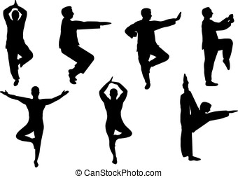 tai-chi - vector, silhouette of men practicing tai-chi...