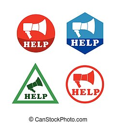 Help icon set with Megaphone. Abstract illustration for your...