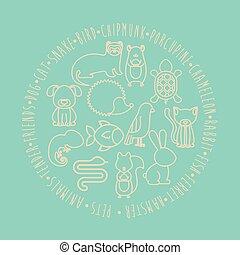 animal pet cartoon design - Set of animals. pet cartoon and...