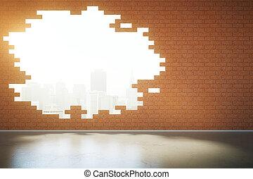 Broken brick wall with NY view - Abstract broken red brick...