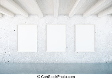 Interior with blank picture frames - Concrete interior with...
