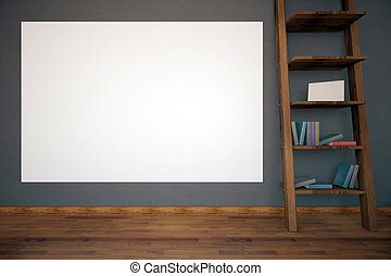 Interior with empty billboard - Dark concrete interior with...