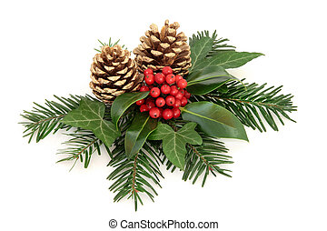 Winter Holly Berry Decoration - Winter with holly and red...