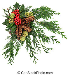 Winter Fauna Decoration - Winter fauna decoration of holly...