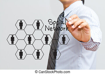 man drawing social network structure in a whiteboard