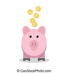 Piggy bank with gold coins. Toy pink pig money box